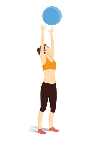 Woman workout with fitness ball. She throwing ball into the air above the head.