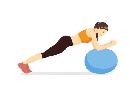exercise equipment: Woman workout with fitness ball in ball table top posture. Illustration about exercise with exercise equipment. Illustration