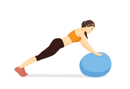 exercise equipment: Woman workout with fitness ball in ball triceps extension posture. Illustration about exercise with exercise equipment.