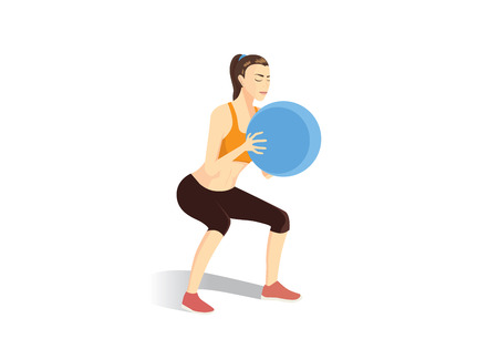 fullbody: Sport woman doing squat exercises with fitness ball. Illustration about fitness. Illustration