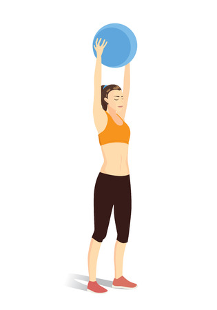 flexible girl: Woman workout with fitness ball in lifting over head posture. Illustration about exercise.