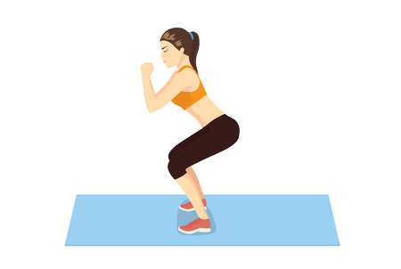 Woman get perfect butt and legs with squat workout on blue mat. Illustration about healthy lifestyle. 矢量图像