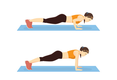Step instruction for push up of woman. Cartoon illustration about work out. Vettoriali