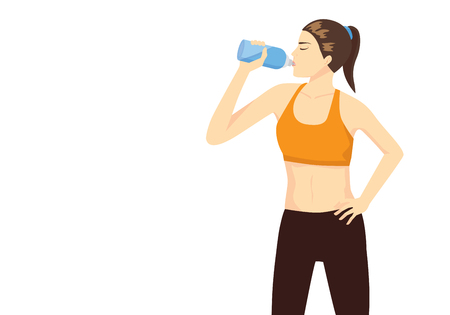 recovering: Sport woman lifting bottle and drinking water after workout for refresh.