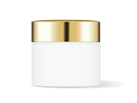 cc: White cream jar with gold cap isolated on white background, Ideal for mock up packaging.