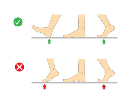 正しく歩くステップです。医療に関するイラストです。  イラスト・ベクター素材