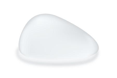 실리콘 유방 질감 눈물 모양의 흰색 배경에 격리입니다. 성형 수술에 대한 객체.
