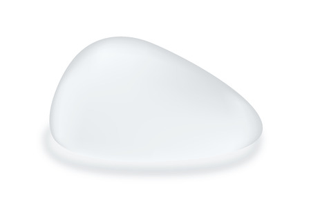 Silicone breast textured teardrop shape isolated on white background.  object about cosmetic surgery. Illustration