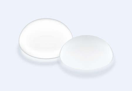 Silicone breast implants smooth surface and textured types on blue background. This illustration about cosmetic surgery.