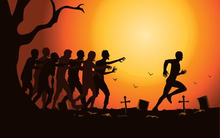 Sylwetka biegacza uciekać przed grupą zombie na cmentarzu. Ilustracje wektorowe