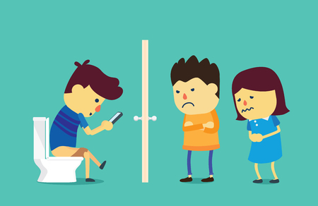overuse: People wait on a long time at front toilet because young man using smartphone on flush toilet. This illustration about mobile phone overuse. Illustration