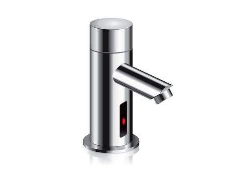 Bathroom faucet in polished powered automatic by sensor. object about home Improvement.