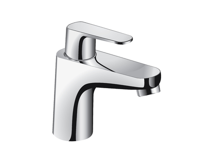 spew: Silver bathroom faucet. There is single handle controls hot and cold water. Illustration