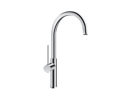 pull: Silver kitchen faucet isolated on white. Align one handle high arc pull down bar faucet. Illustration