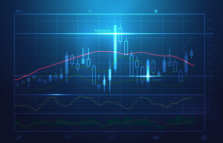 stock charts and market analysis in blue theme. Illustration about stock investment. Ideal for technology concept background.