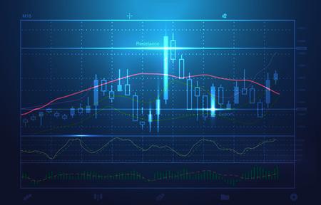 voorraad grafieken en marktanalyse in blauw thema. Illustratie over voorraad investering. Ideaal voor technologisch concept achtergrond.