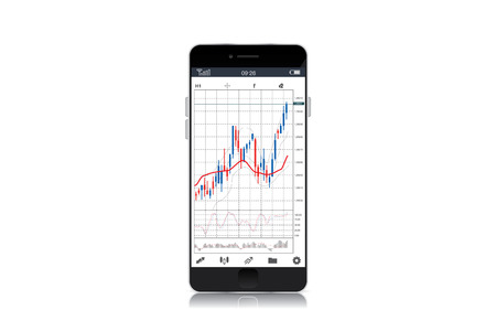 stock chart: Stock chart on screen of black smart phone isolated on white background. object about financial.