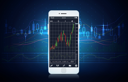 stock chart: Smart phone screen showing stock chart with blue theme background. Illustration about finance and investment.