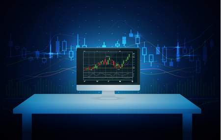 stock chart: Computer on white table showing stock chart on screen with blue theme background. Illustration about finance and investment.