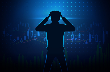 investor: Silhouette of stressed investor on concept background about stock chart. Man touch his head. Illustration