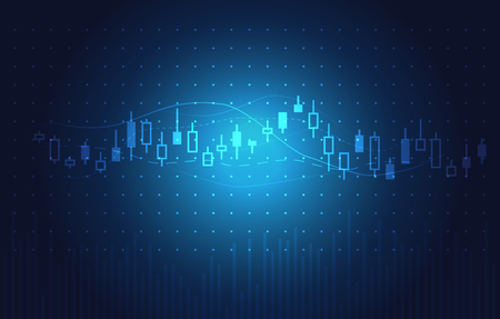 technology market: stock charts and market analysis in blue theme. Illustration about stock investment. Ideal for technology concept background.