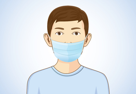 Boy wearing breath mask for protect a respiratory disease. Illustration about health and medical.