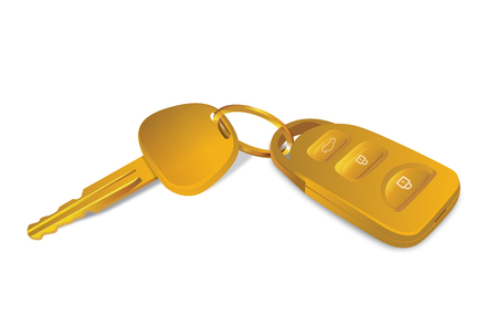 car for sale: Gold car keys vector isolated on white. Ideal for sale promotion concept. Get car free from lucky draw.