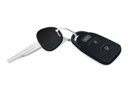 remote lock: Car keys black color vector isolated on white.