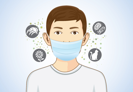 Boy wearing breath mask for protect something that cause allergic reactions include pollen, dust particles and animal, bacteria. Vectores