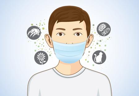 Boy usando la máscara de respiración por algo de protección que causan reacciones alérgicas incluyen el polen, las partículas de polvo y de los animales, bacterias.