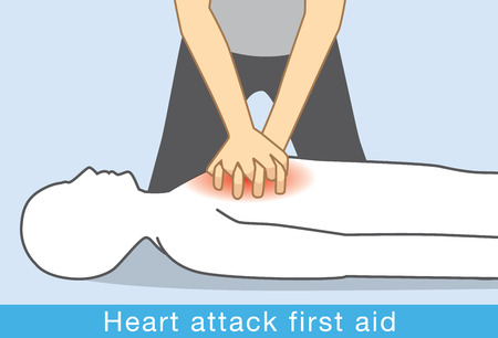 Hand push hard and fast in the center of chest of Heart attack people. First aid for Heart attack people.
