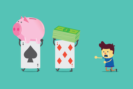 Poker card lifting dollar bill and piggy bank of man. He waste a lot of money from gambling.