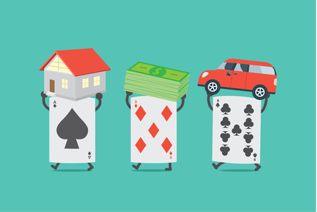seize: Poker card lifting home and money and car. This illustration description to seize asset because gambling.