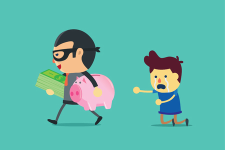 penniless: Bandit in suit holding money and piggy bank of a man. This illustration about cheated.