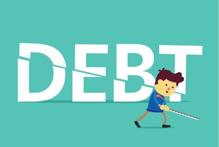 ビジネスマンは、剣で債務を削減しました。この図は、すべての債権者への支払についての概念です。  イラスト・ベクター素材