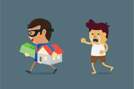 penniless: Businessman wearing mask holding home and money of a man. Illustration about cheated and seize asset.