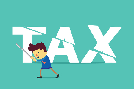 computation: Businessman cut tax with sword. This illustration about save money by tax deduction.