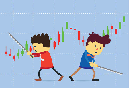 Two peoples battle with sword on stock chart background. Business concept about stock trading.
