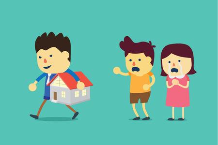 Home is in beslag genomen door de lening officier, omdat de eigenaar niet in staat om te betalen voor de schulden.