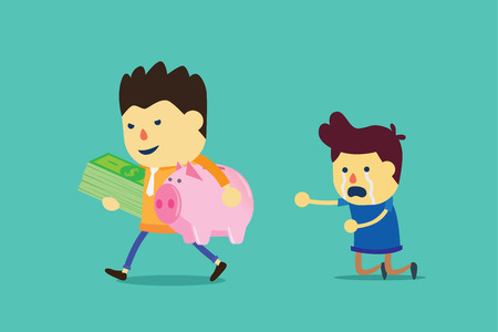 penniless: Businessman holding piggy bank and many money of man. This illustration seize asset.