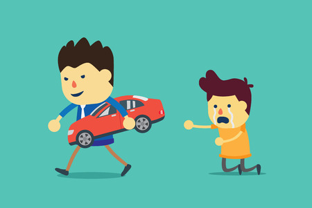 seized: Red car is seized by loan officer because owner unable to pay for debt. Illustration