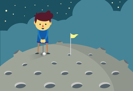 dryness: Man in prepare posture for putting a golf ball into hole on the moon.