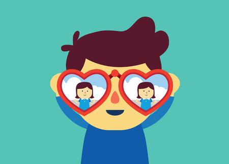Man met verrekijker met hartvorm voor het vinden van vriendin. Illustratie over verliefd worden.