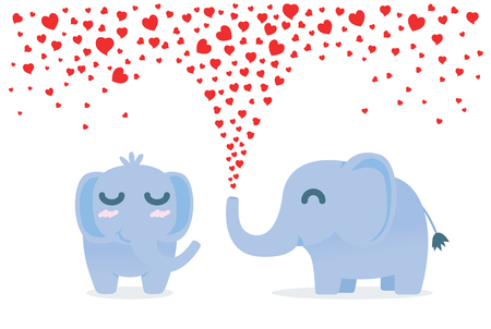 spay: Elephant spraying many heart out of nose for flirt female. Illustration about affection. Illustration