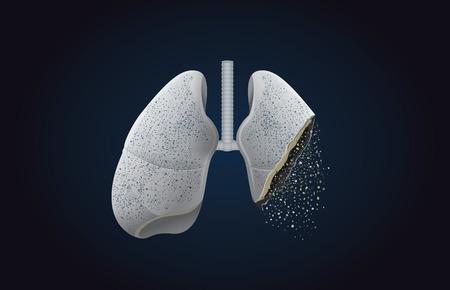 Szara płuca przemienić się w popiół. Ta ilustracja na temat wpływu palenia tytoniu a rakiem. Ilustracje wektorowe