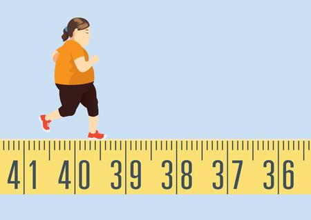 Grosse femme jogging sur un ruban à mesurer pour perdre du poids. C'est un concept d'exercice.