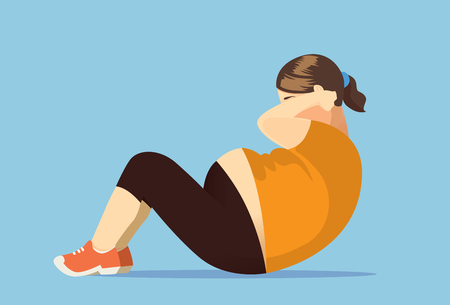 Fat woman exercise with doing sit up. Illustration about lose weight. 向量圖像