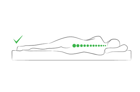 The correct spine alignment when sleeping by on the side sleeping position.  イラスト・ベクター素材