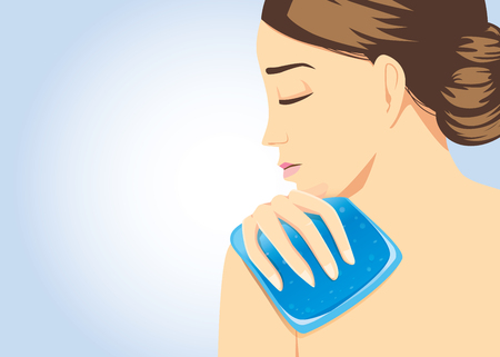relief: Cooling pack gel on shoulder of woman for relief of pain. Illustration about first aid equipment. Illustration