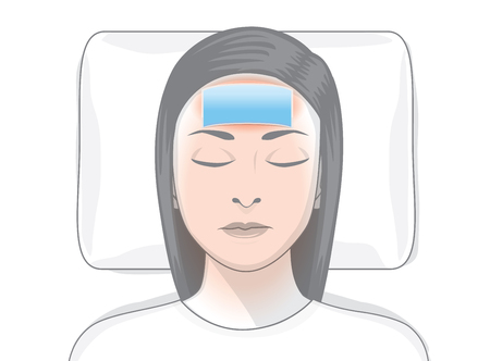 redness: Reduce fever patches on forehead area of ill woman. Illustration about first aid at home.